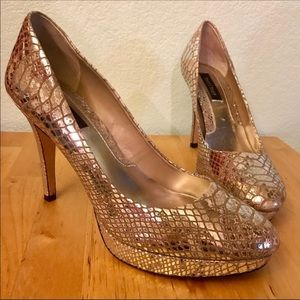 White House Black Market Silver Snakeskin Heels
